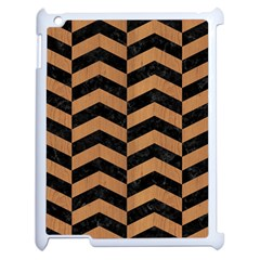 Chevron2 Black Marble & Light Maple Wood Apple Ipad 2 Case (white)