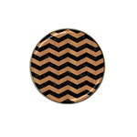 CHEVRON3 BLACK MARBLE & LIGHT MAPLE WOOD Hat Clip Ball Marker (10 pack) Front