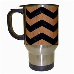 Chevron3 Black Marble & Light Maple Wood Travel Mugs (white)