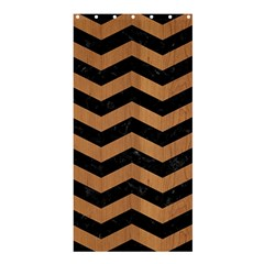 Chevron3 Black Marble & Light Maple Wood Shower Curtain 36  X 72  (stall)