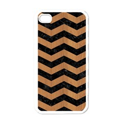 Chevron3 Black Marble & Light Maple Wood Apple Iphone 4 Case (white)