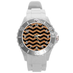 Chevron3 Black Marble & Light Maple Wood Round Plastic Sport Watch (l)