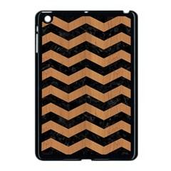 Chevron3 Black Marble & Light Maple Wood Apple Ipad Mini Case (black)