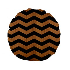 Chevron3 Black Marble & Light Maple Wood Standard 15  Premium Round Cushions