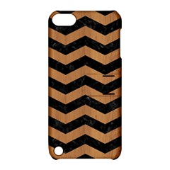 Chevron3 Black Marble & Light Maple Wood Apple Ipod Touch 5 Hardshell Case With Stand