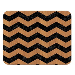 Chevron3 Black Marble & Light Maple Wood Double Sided Flano Blanket (large)