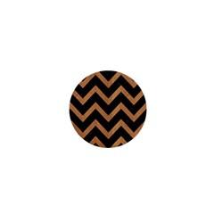 Chevron9 Black Marble & Light Maple Wood 1  Mini Buttons