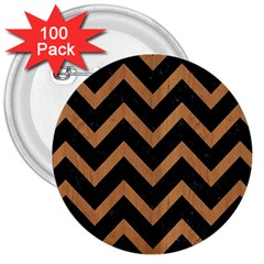 Chevron9 Black Marble & Light Maple Wood 3  Buttons (100 Pack)