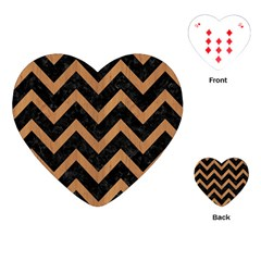Chevron9 Black Marble & Light Maple Wood Playing Cards (heart)