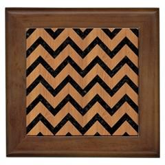 Chevron9 Black Marble & Light Maple Wood (r) Framed Tiles