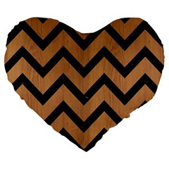 Chevron9 Black Marble & Light Maple Wood (r) Large 19  Premium Heart Shape Cushions