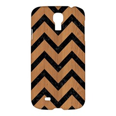 Chevron9 Black Marble & Light Maple Wood (r) Samsung Galaxy S4 I9500/i9505 Hardshell Case
