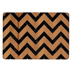 Chevron9 Black Marble & Light Maple Wood (r) Samsung Galaxy Tab 10 1  P7500 Flip Case