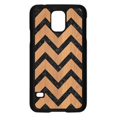 Chevron9 Black Marble & Light Maple Wood (r) Samsung Galaxy S5 Case (black)