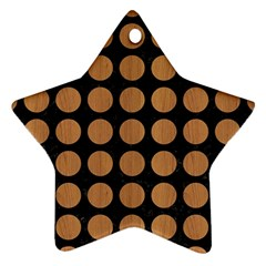 Circles1 Black Marble & Light Maple Wood Ornament (star)