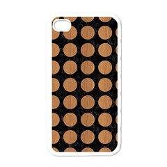 Circles1 Black Marble & Light Maple Wood Apple Iphone 4 Case (white)
