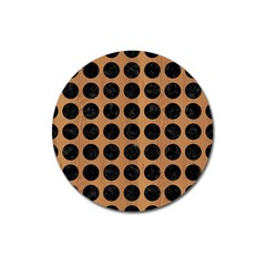 Circles1 Black Marble & Light Maple Wood (r) Magnet 3  (round)
