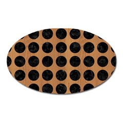 Circles1 Black Marble & Light Maple Wood (r) Oval Magnet