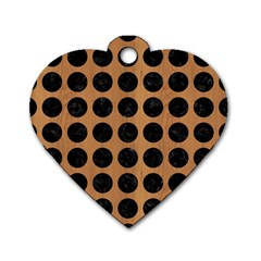 Circles1 Black Marble & Light Maple Wood (r) Dog Tag Heart (two Sides)