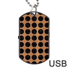 Circles1 Black Marble & Light Maple Wood (r) Dog Tag Usb Flash (one Side)