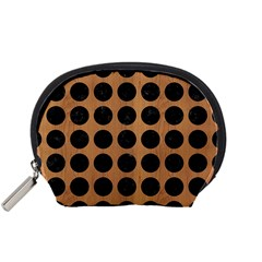 Circles1 Black Marble & Light Maple Wood (r) Accessory Pouches (small)
