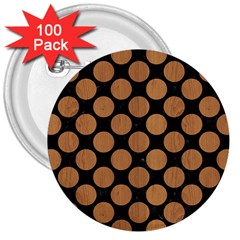 Circles2 Black Marble & Light Maple Wood 3  Buttons (100 Pack)