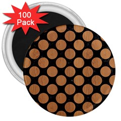 Circles2 Black Marble & Light Maple Wood 3  Magnets (100 Pack)