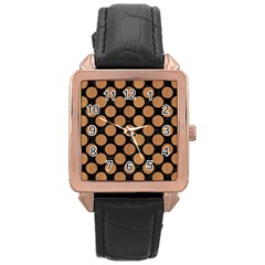 Circles2 Black Marble & Light Maple Wood Rose Gold Leather Watch