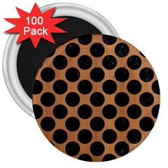 Circles2 Black Marble & Light Maple Wood (r) 3  Magnets (100 Pack)
