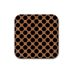 Circles2 Black Marble & Light Maple Wood (r) Rubber Square Coaster (4 Pack)
