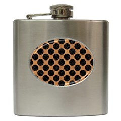 Circles2 Black Marble & Light Maple Wood (r) Hip Flask (6 Oz)