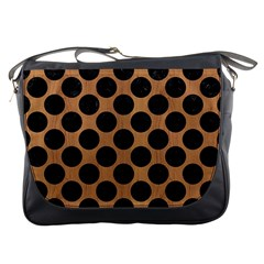Circles2 Black Marble & Light Maple Wood (r) Messenger Bags