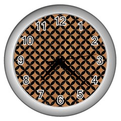 Circles3 Black Marble & Light Maple Wood (r) Wall Clocks (silver)