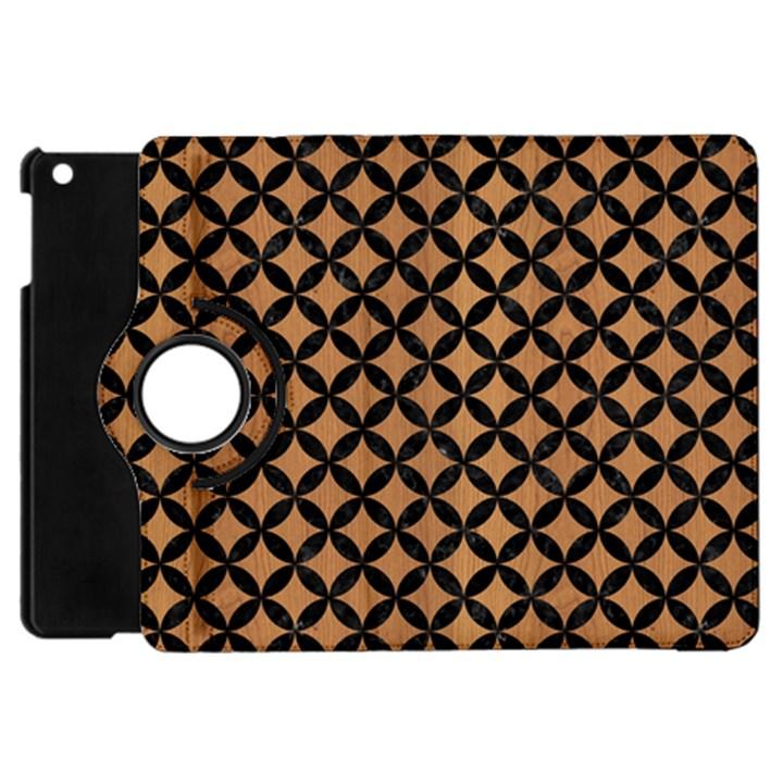 CIRCLES3 BLACK MARBLE & LIGHT MAPLE WOOD (R) Apple iPad Mini Flip 360 Case