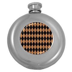 Diamond1 Black Marble & Light Maple Wood Round Hip Flask (5 Oz)