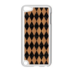 Diamond1 Black Marble & Light Maple Wood Apple Ipod Touch 5 Case (white)