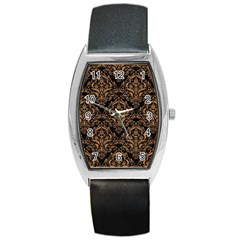 Damask1 Black Marble & Light Maple Wood Barrel Style Metal Watch