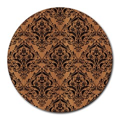 Damask1 Black Marble & Light Maple Wood (r) Round Mousepads