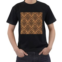 Damask1 Black Marble & Light Maple Wood (r) Men s T Shirt (black) (two Sided)