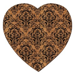 Damask1 Black Marble & Light Maple Wood (r) Jigsaw Puzzle (heart)