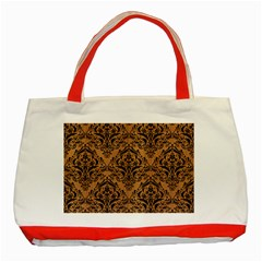 Damask1 Black Marble & Light Maple Wood (r) Classic Tote Bag (red)