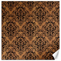 Damask1 Black Marble & Light Maple Wood (r) Canvas 12  X 12