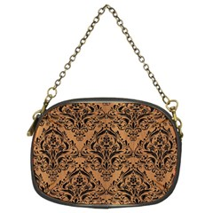 Damask1 Black Marble & Light Maple Wood (r) Chain Purses (two Sides)