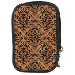 Damask1 Black Marble & Light Maple Wood (r) Compact Camera Cases
