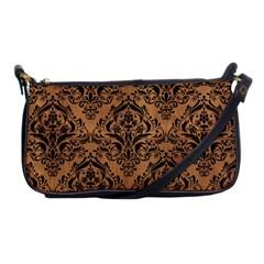 Damask1 Black Marble & Light Maple Wood (r) Shoulder Clutch Bags