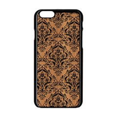 Damask1 Black Marble & Light Maple Wood (r) Apple Iphone 6/6s Black Enamel Case