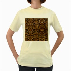 Damask2 Black Marble & Light Maple Wood Women s Yellow T Shirt
