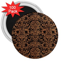Damask2 Black Marble & Light Maple Wood 3  Magnets (100 Pack)