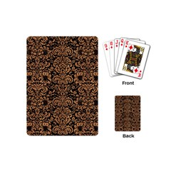 Damask2 Black Marble & Light Maple Wood Playing Cards (mini)