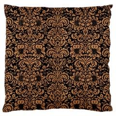 Damask2 Black Marble & Light Maple Wood Large Flano Cushion Case (two Sides)